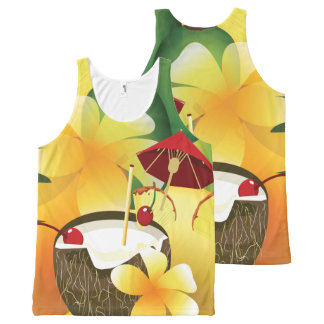 Hawaiian Luau Coconut Drink Party PAO All-Over Print Singlet