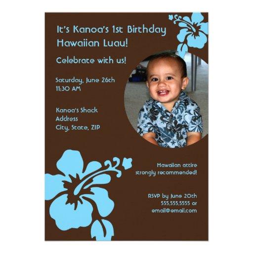 Hawaiian Luau Custom Photo Birthday Invitation