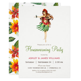 Hawaiian Luau Housewarming Party Invitation