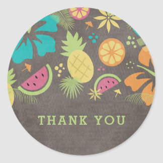 Hawaiian Luau Kids Party Thank You Round Sticker