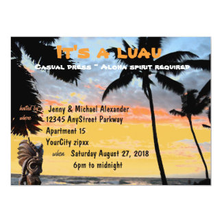 Hawaiian Luau Palm Tree and Tiki 17 Cm X 22 Cm Invitation Card