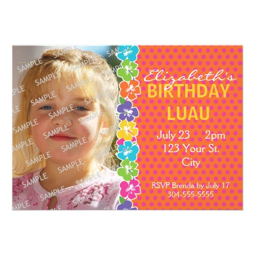 Hawaiian Luau Party Announcements
