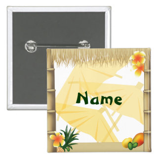 Hawaiian Luau Party Name Button