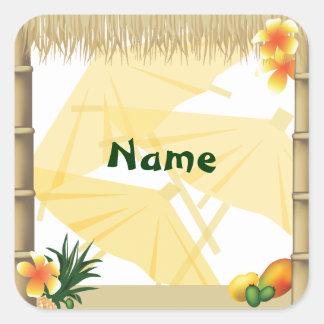 Hawaiian Luau Party Name Sticker