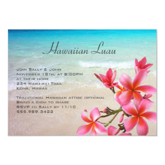Hawaiian Luau Pink Plumeria Party Invitations