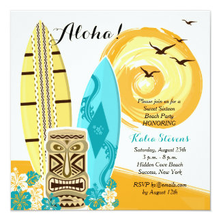 Hawaiian Luau Surfboards Invitation