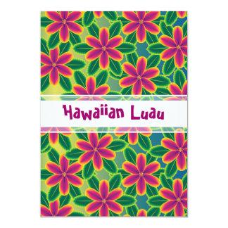 Hawaiian Luau Tropical Flowers Party Card