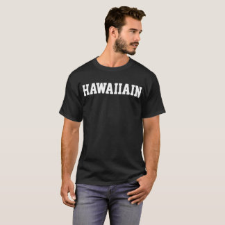 HAWAIIAN Men's College Style Letter Black T-Shirt