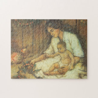 Hawaiian Mother and Child Jigsaw Puzzle