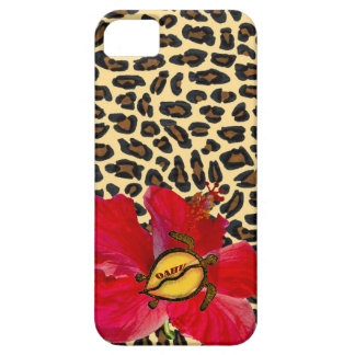 Hawaiian Oahu Honu and Golden Leopard Print iPhone 5 Cases