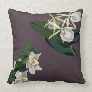 Hawaiian Orchid Flowers Jungle Leaves Throw Pillow