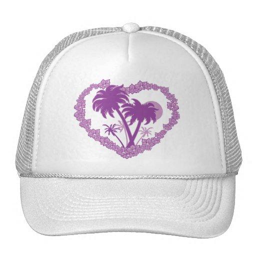 Hawaiian Palm Tree Heart Mesh Hat