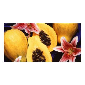 Hawaiian papayas personalized photo card