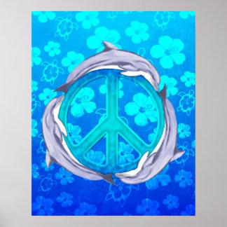 Hawaiian Peace Dolphins Posters