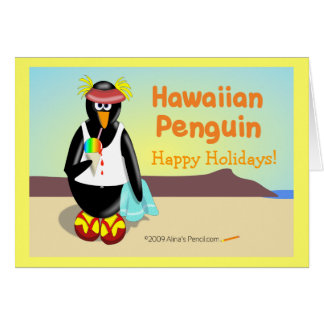 Hawaiian Penguin Holiday Greeting Card