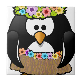Hawaiian Penguin With flowers and grass skirt Ceramic Tile
