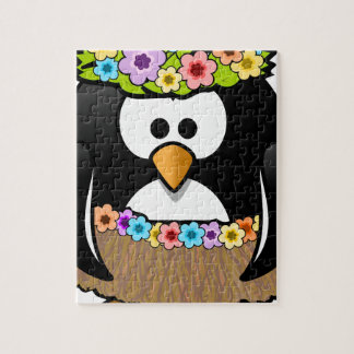 Hawaiian Penguin With flowers and grass skirt Jigsaw Puzzle