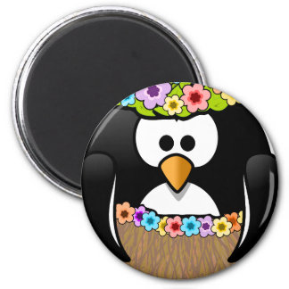 Hawaiian Penguin With flowers and grass skirt Magnet