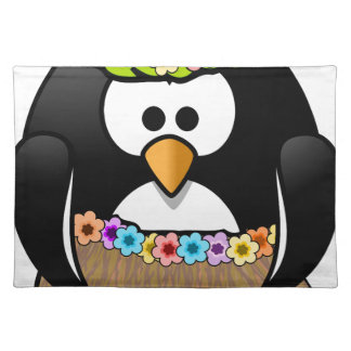 Hawaiian Penguin With flowers and grass skirt Placemat