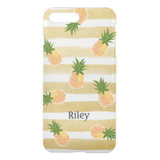 Hawaiian Pineapple Pattern & Fashion Gold Stripes iPhone 7 Plus Case