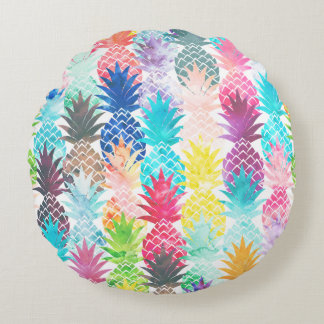 Hawaiian Pineapple Pattern Tropical Watercolor Round Pillow