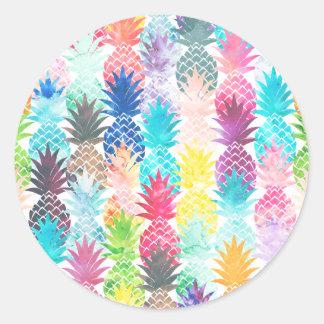 Hawaiian Pineapple Pattern Tropical Watercolor Round Sticker