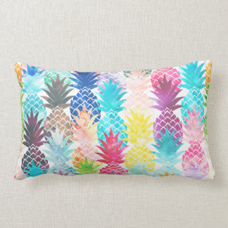 Hawaiian Pineapple Pattern Tropical Watercolor Throw Cushion