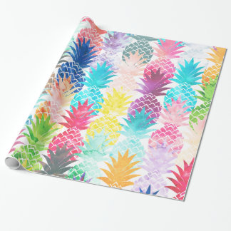 Hawaiian Pineapple Pattern Tropical Watercolor Wrapping Paper