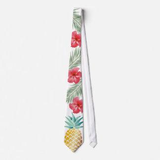 Hawaiian Pineapple Tropical Hibiscus Floral Tie