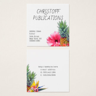 Hawaiian Pineapples Flowers Square Business Cards