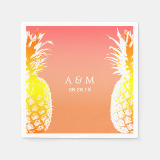 Hawaiian Pineapples Tropical Wedding Disposable Napkins