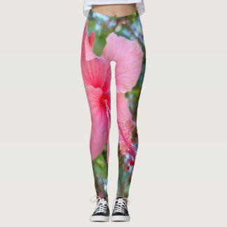 Hawaiian Pink Hibiscus Blossoms Tropical Flower Leggings