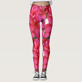 Hawaiian pink plumeria exercise leggings
