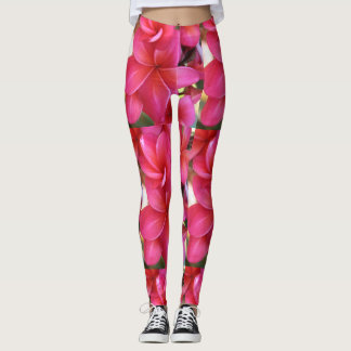 Hawaiian pink plumeria flower leggings