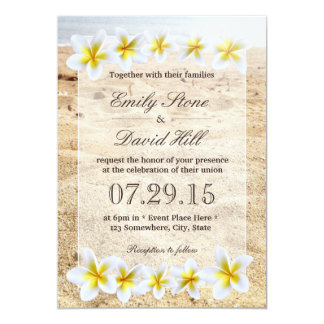 Hawaiian Plumeria Flowers Beach Theme Wedding 13 Cm X 18 Cm Invitation Card