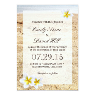 Hawaiian Plumeria Flowers Beach Wedding 13 Cm X 18 Cm Invitation Card