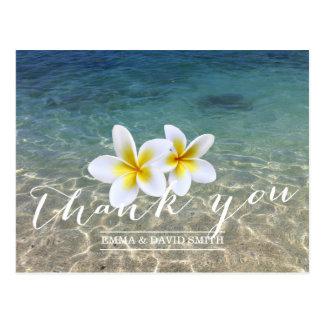 Hawaiian Plumeria Flowers Beach Wedding Thank You Postcard