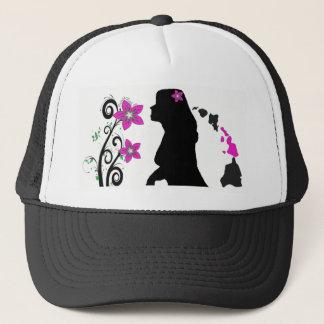 Hawaiian Plumeria Silhouette Girl Trucker Hat