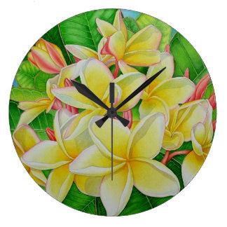 Hawaiian  Plumeria Wall Clock