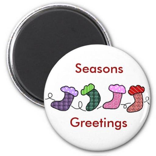 Hawaiian print stocking, Seasons, Greetings magnet