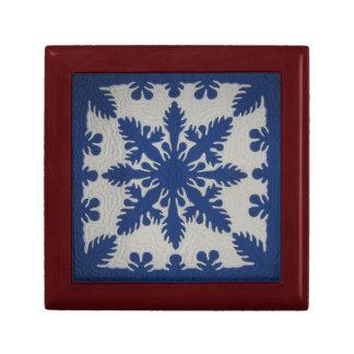 Hawaiian Quilt Blue Gift Box
