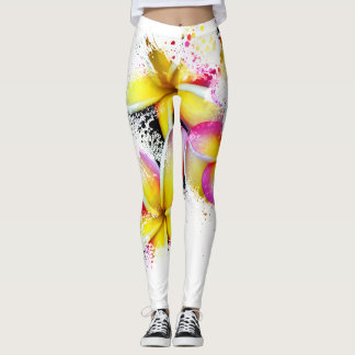 Hawaiian Rainbow Plumeria Flower Impressionist Art Leggings