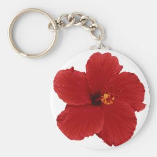 Hawaiian Red Hibiscus flower silver key chain