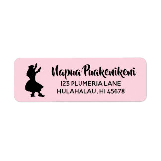 Hawaiian Return Address Labels Hula Girl Dancer