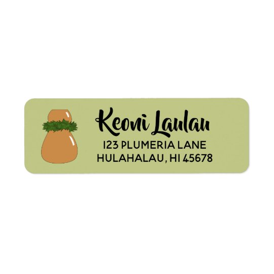 Hawaiian Return Address Labels Ipu Hula Dance Drum