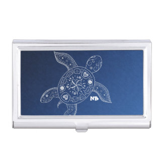 Hawaiian Sea Turtle White on Blue Beach Tropical Business Card Holder
