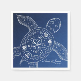Hawaiian Sea Turtle White on Blue Beach Wedding Disposable Serviettes