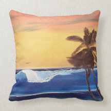 Hawaiian Seascape Painting Cotton Throw Pillow