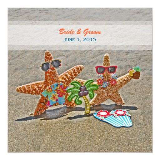 Hawaiian Starfish Couple Wedding Invitation