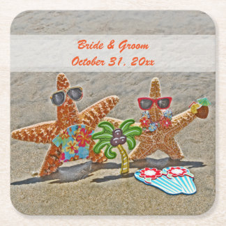 Hawaiian Starfish Couple Wedding Paper Coasters